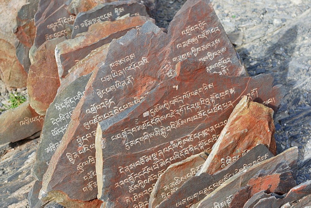 Stone tablets Chagpo Ri, Lhasa, Tibet, China, Asia