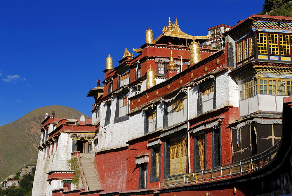 Gold-colored turrets, Drigung Til Monastery, Tibet, China, Asia