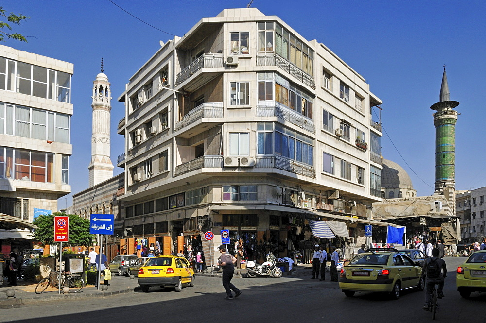 Streetscape at downtown, city center of Damascus, Unesco World Heritage Site, Syria, Middle East, West Asia