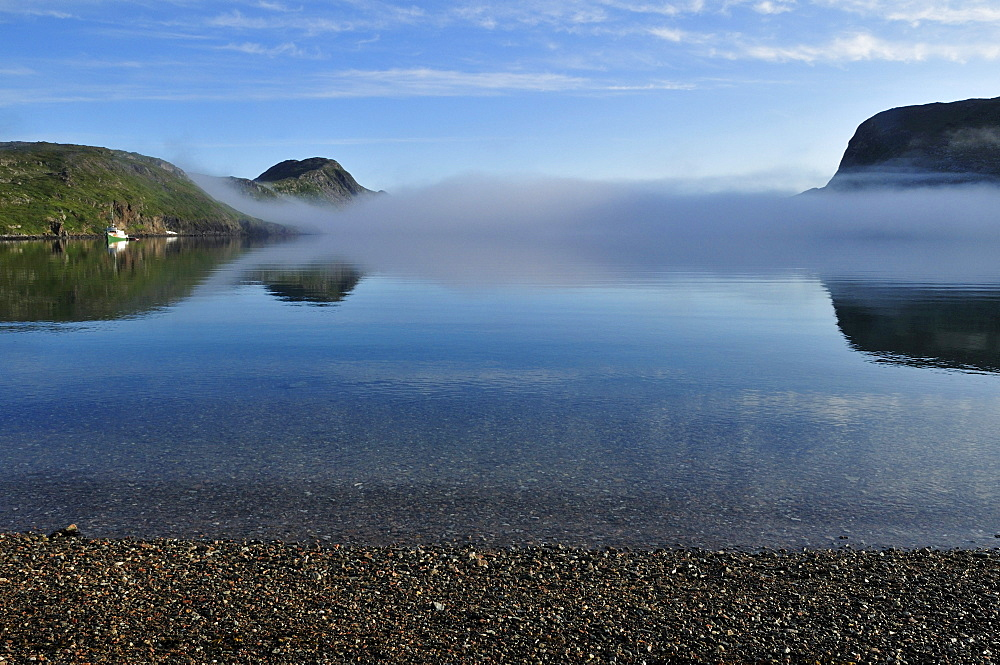 Fog over Saglek Fjord, Torngat Mountains National Park, Newfoundland and Labrador, Canada, North America
