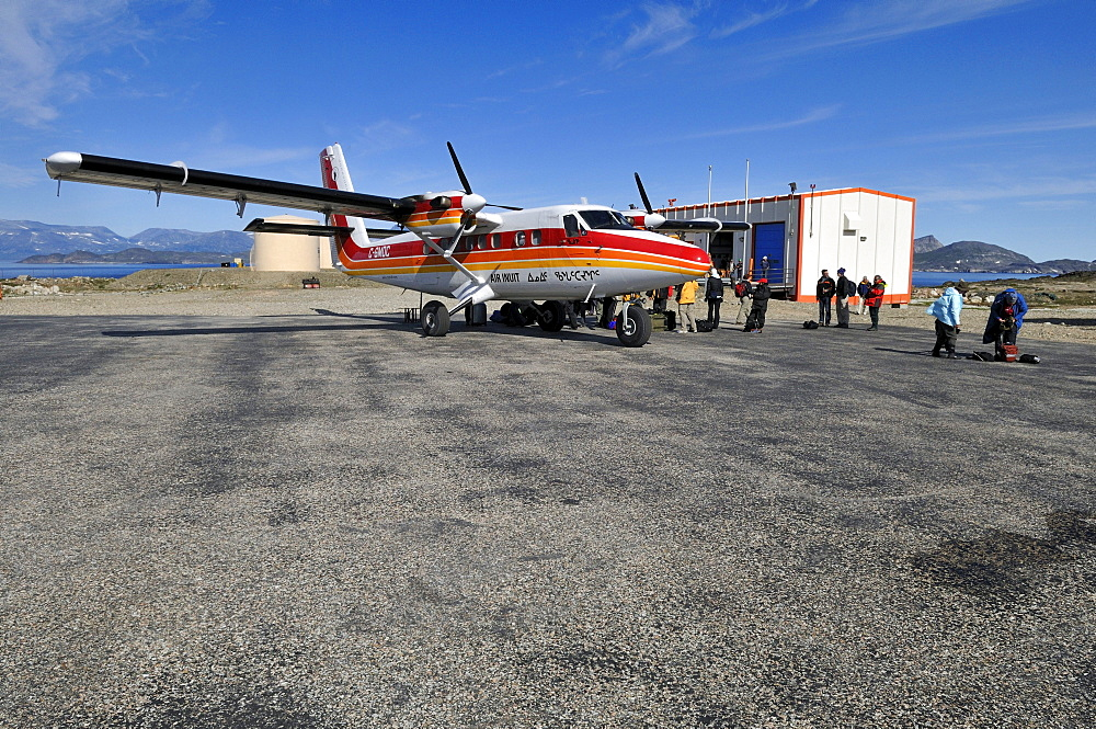 Inuit Air Twinotter plane on a small airstrip, Torngat Mountains National Park, Newfoundland and Labrador, Canada, North America