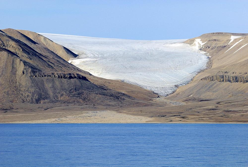 Glacier tongue and arctic desert landscape of Devon Island, Northwest Passage, Nunavut, Canada, Arctic