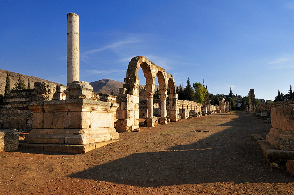 Ancient Umayyad ruins at the archeological site of Anjar, Aanjar, Unesco World Heritage Site, Bekaa Valley, Lebanon, Middle East, West Asia