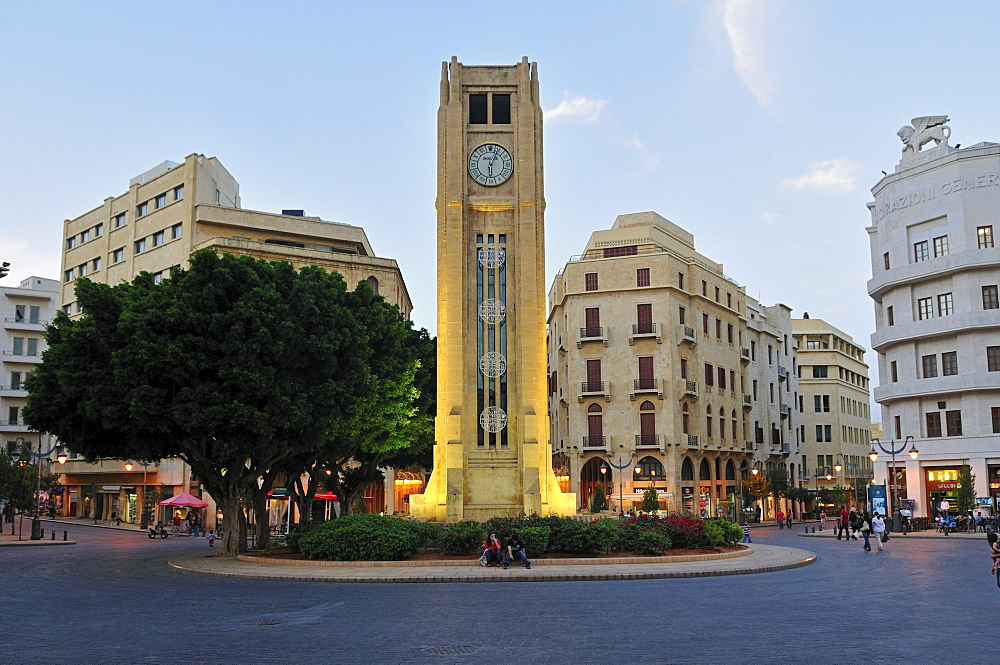 Illuminated Place de l'Etoile, clocktower in the historic center of Beirut, Beyrouth, Lebanon, Middle East, West Asia