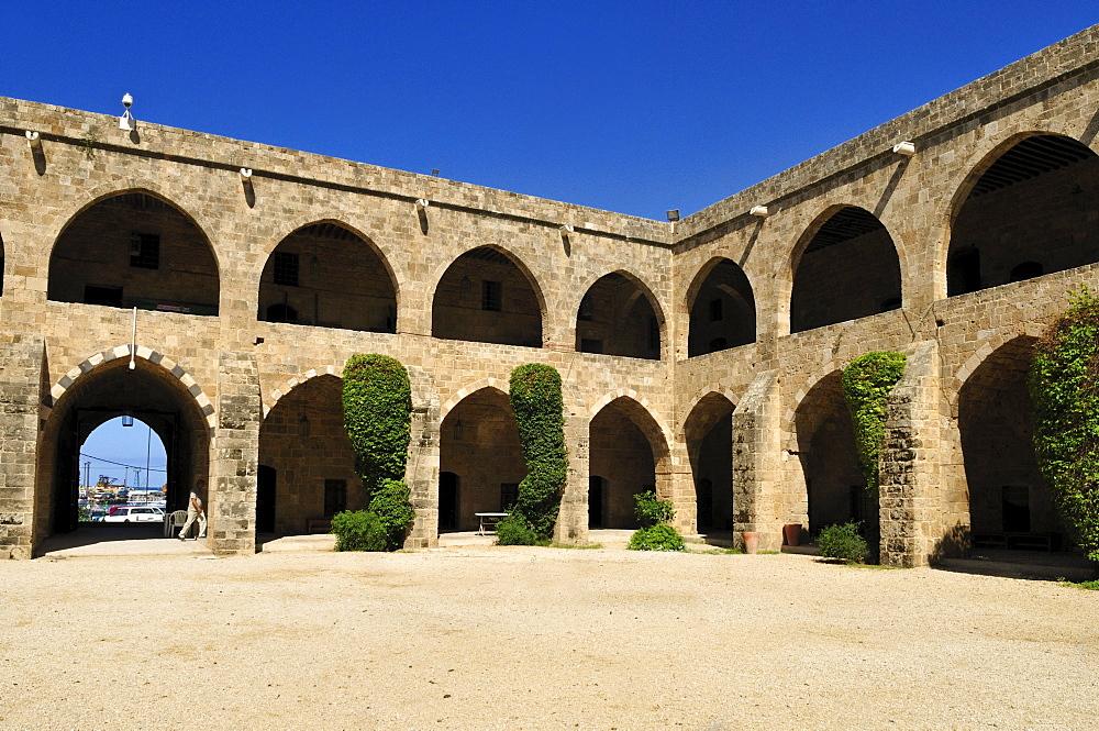 Historic caravanserai, Han, Khan al Franj, Sidon, Saida, Lebanon, Middle East, West Asia