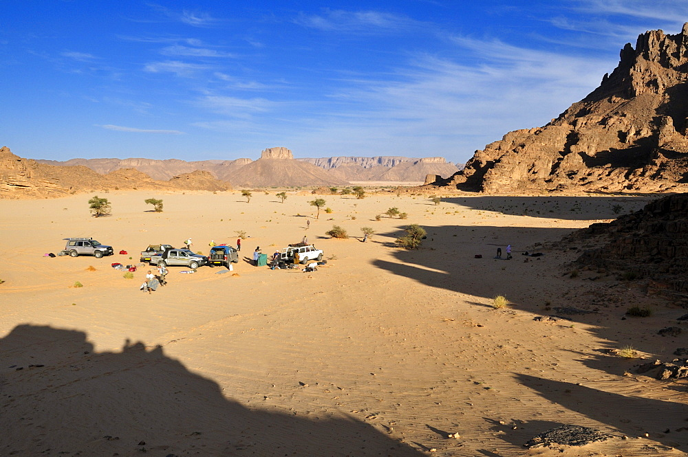 Tourist camp in the foothills of Tassili n'Ajjer National Park, Unesco World Heritage Site, Wilaya Illizi, Algeria, Sahara, North Africa