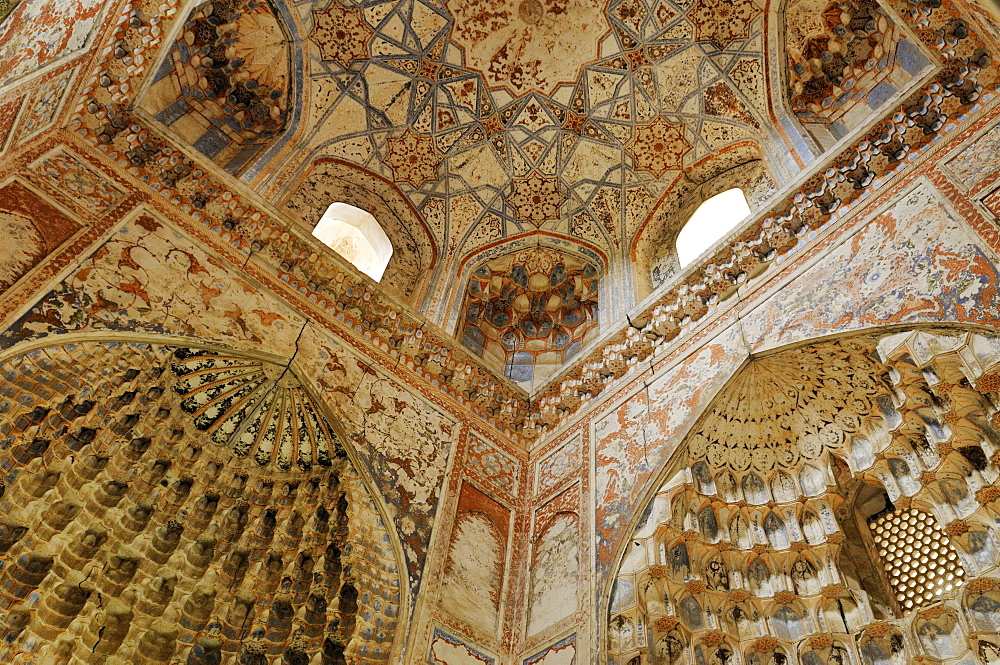 Painted interior of Abdul Aziz Chan Madrassah, Bukhara, Buchara, Silk Road, Unesco World Heritage Site, Uzbekistan, Central Asia