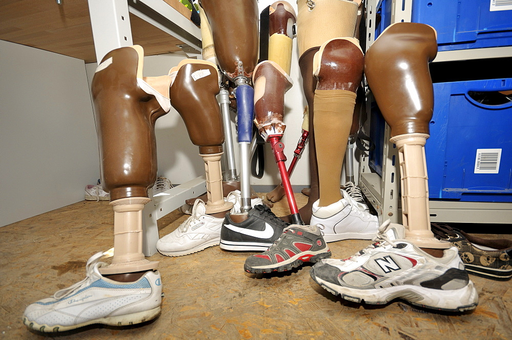 Artificial legs for victims of the January 2010 earthquake, Leogane, Haiti, Caribbean, Central America