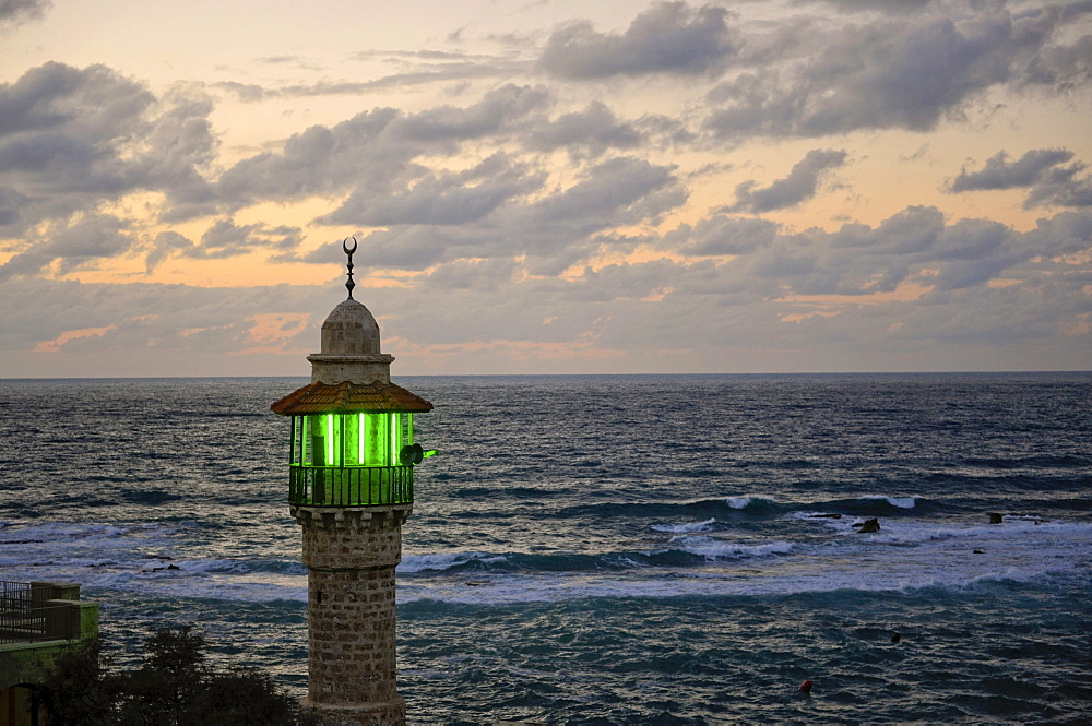 Illuminated minaret in Jaffa at dusk, Tel Aviv, Jaffa, Israel, Middle East, Southwest Asia