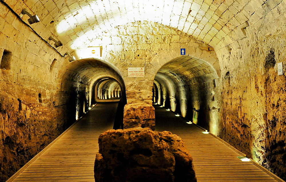 Templar tunnel, Acre, Israel, Middle East, Southwest Asia