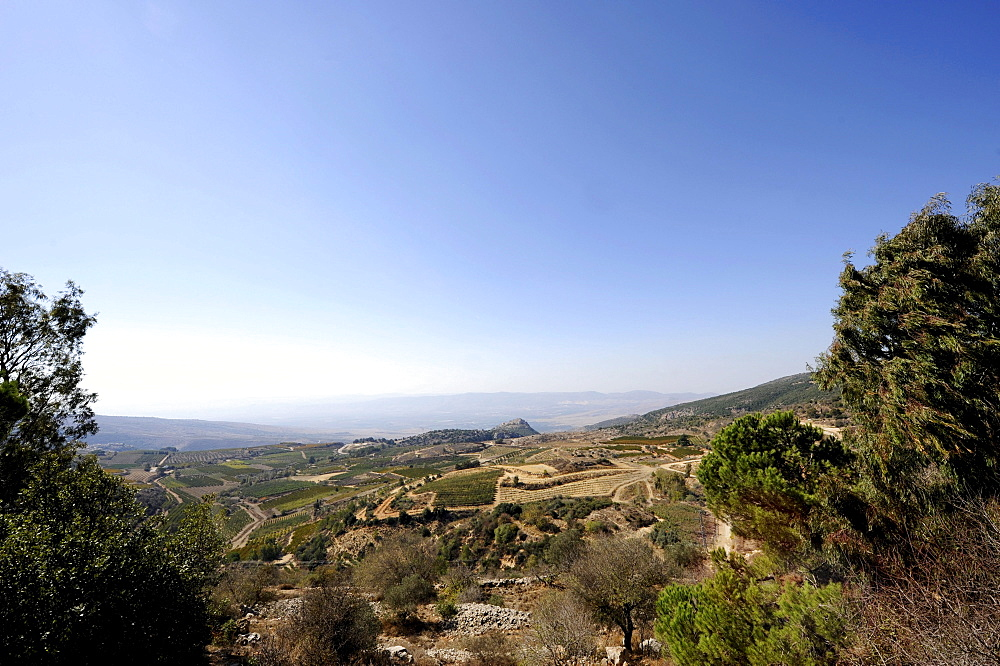 Golan heights, in the middle back Nimrod Fortress, Arabic Qala'at al-Subeiba, Golan Heights, Mount Hermon, Israel, Middle East, Southwest Asia