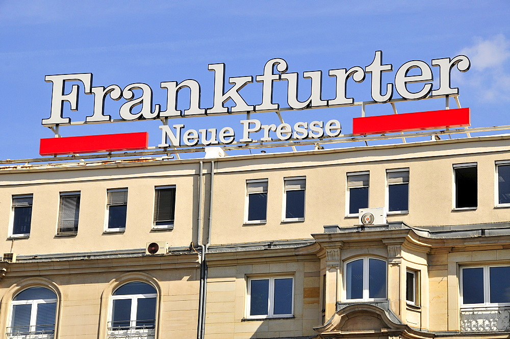 Facade at the main train station with ads for the Frankfurter Neue Presse, Frankfurt, Hesse, Germany, Europe