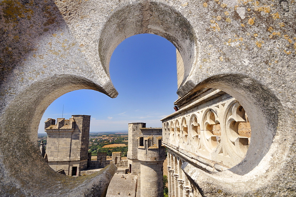 Looking through a stone rosette on Beziers, Languedoc-Roussillon, France, Europe