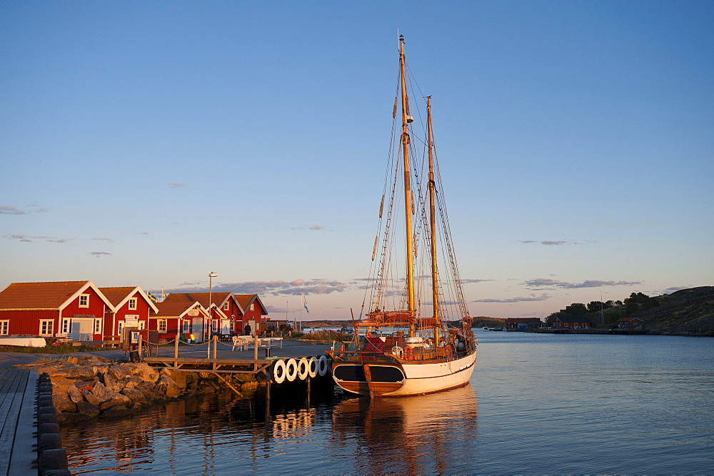 Sailing yacht anchored in the harbour, Molloesund, Vaestra Goetaland County, Sweden, Europe