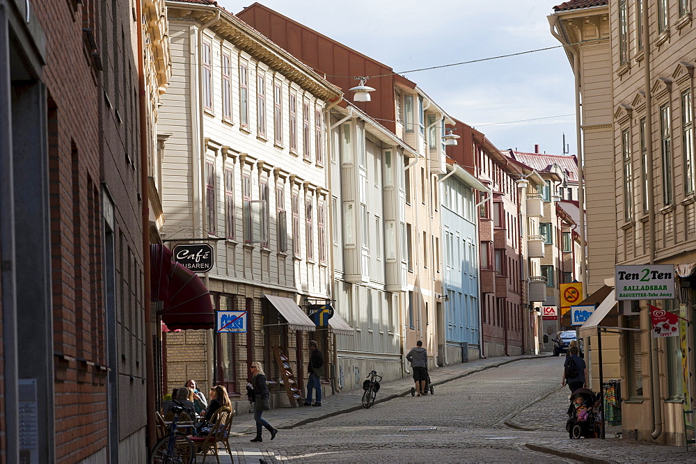 Row of houses in the Haga district, Gothenburg, Vaestra Goetaland County, Sweden, Europe
