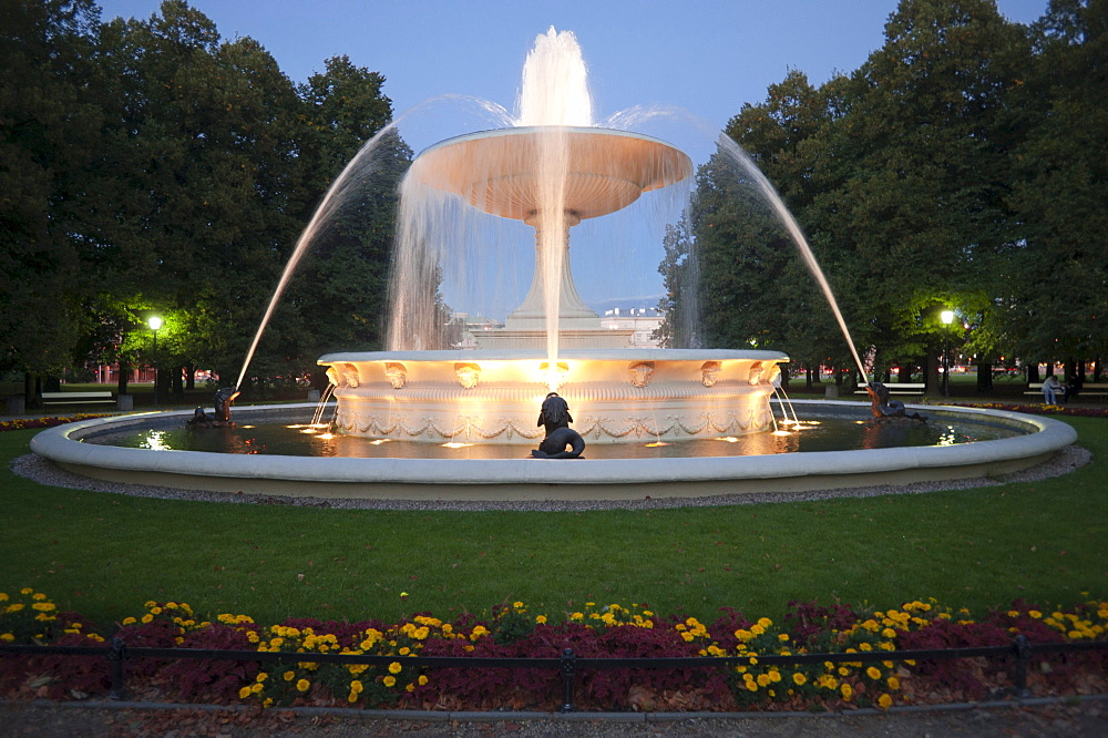 Fountain in a park, Warsaw, Masovia province, Poland, Europe