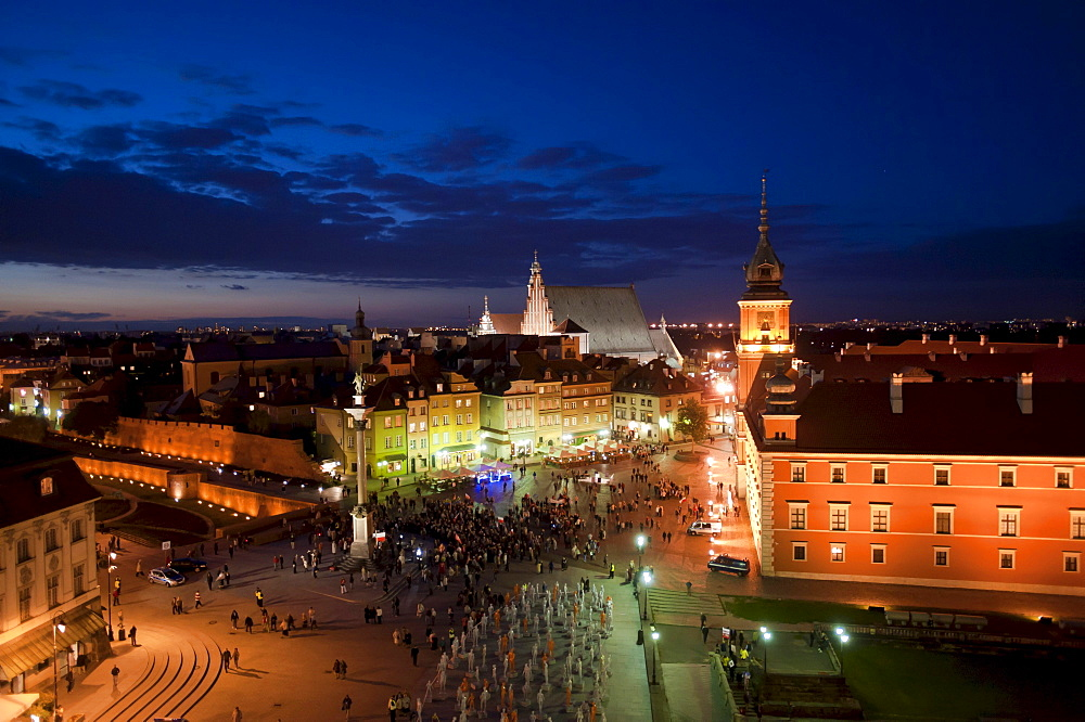Castle Square as seen from the Water Tower during dusk, Warsaw, Masovia province, Poland, Europe