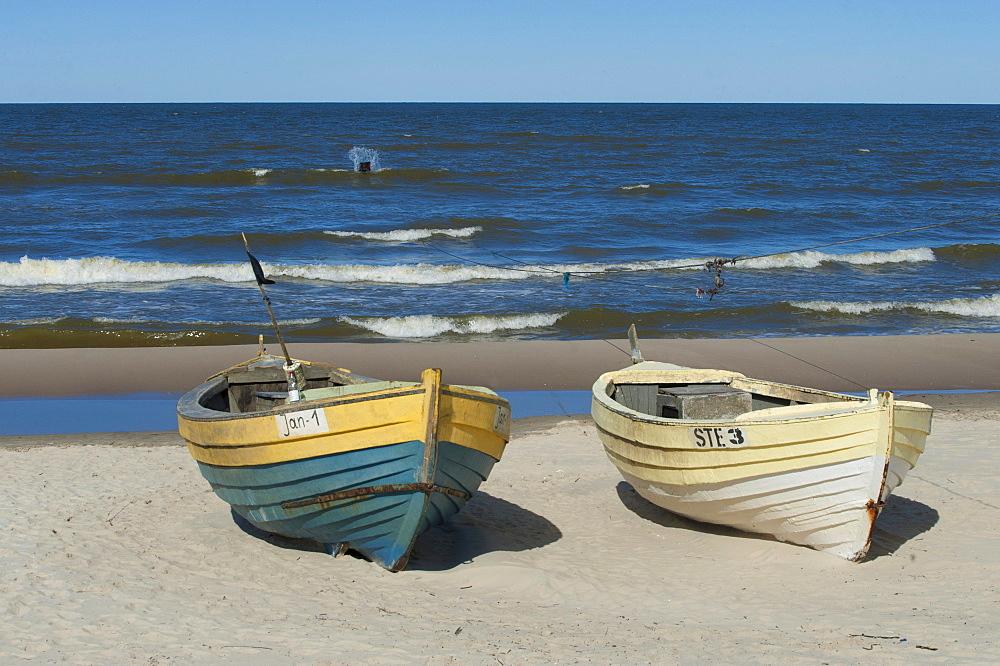 Fishing boats on the beach, spit on the Vistula Lagoon, Baltic Sea, Pomerania, Poland, Europe