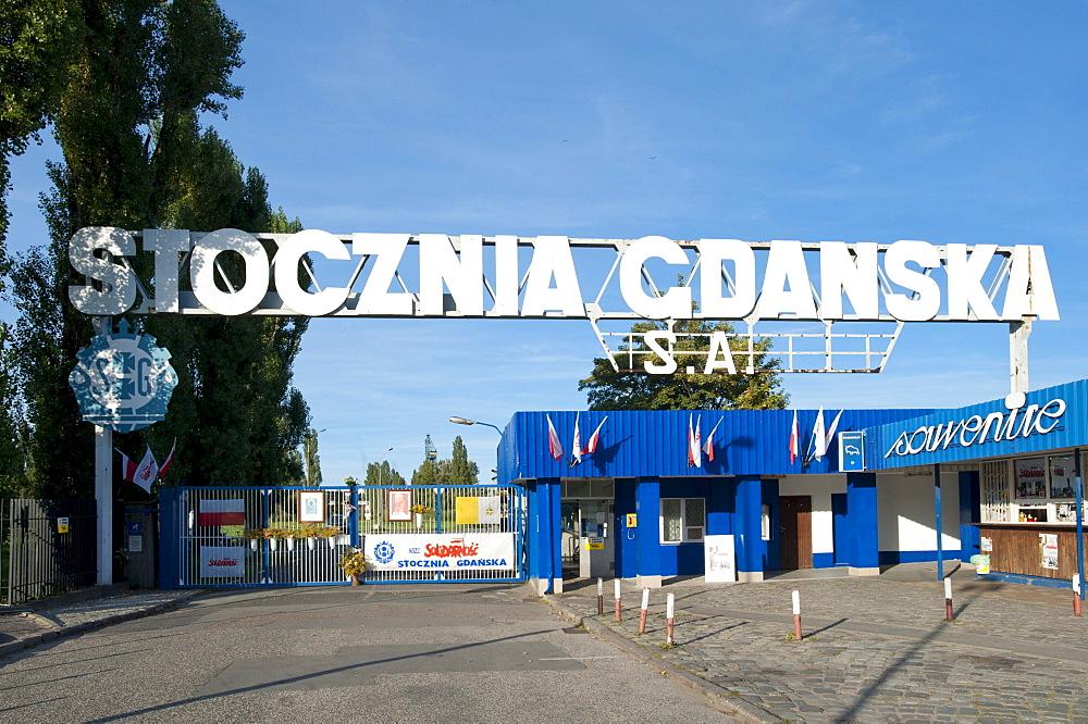 Gdansk shipyard, monument to the Solidarnosc Solidarity movement, Gdansk, Pomerania, Poland, Europe