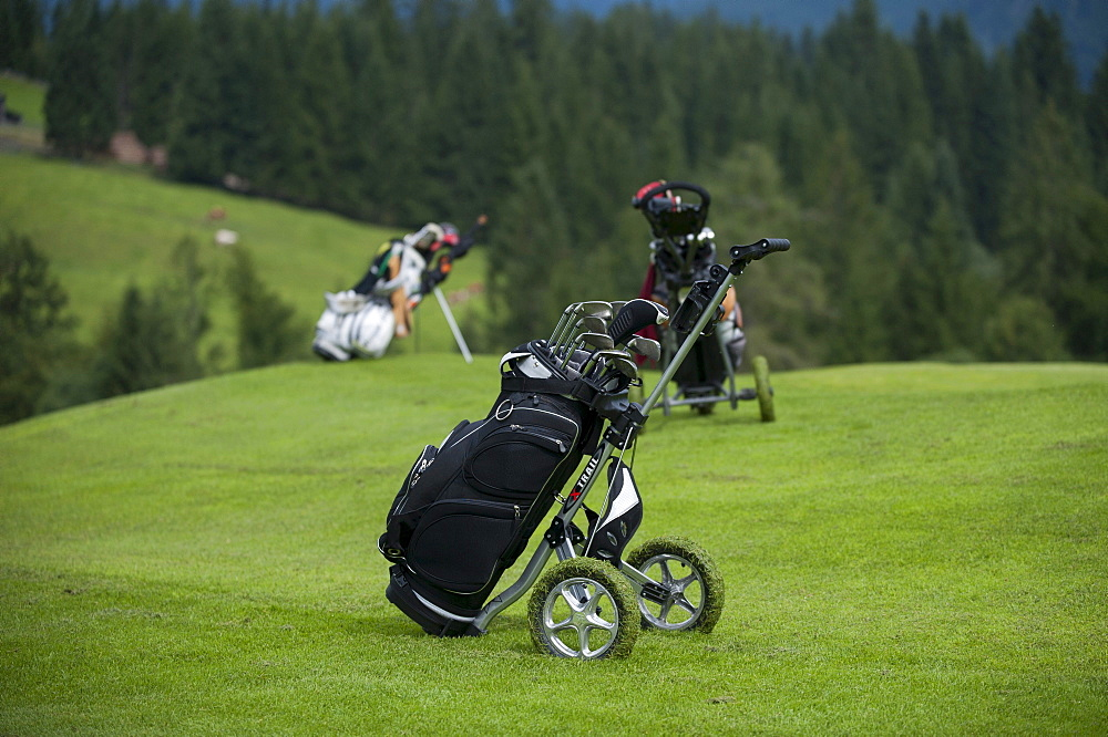 Golf bag, caddy on the Green