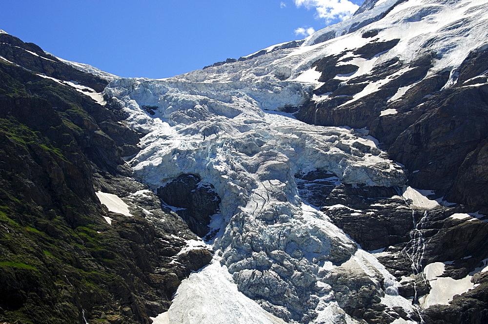 Glacier snout of the Upper Grindelwald Glacier, Grindelwald, Switzerland, Europe