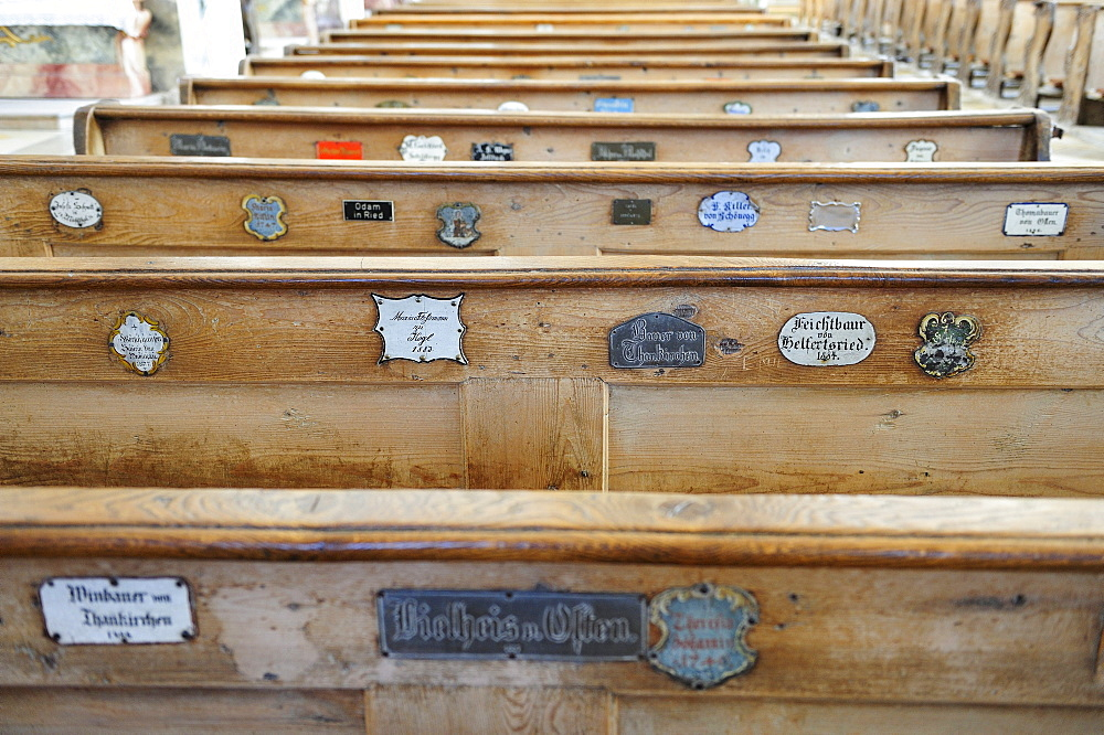 Church pews with nameplates, Visitationists convent Kloster Dietramszell, Dietramszell, Upper Bavaria, Bavaria, Germany, Europe