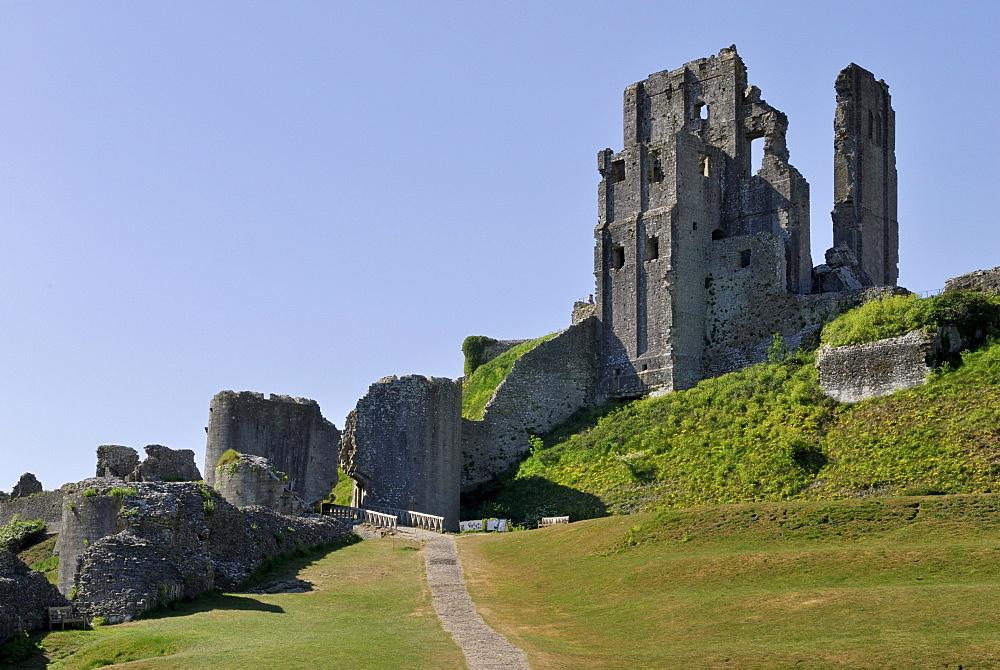 Corfe castle ruin, located in Corfe Castle Village, Dorset, southern England, England, UK, Europe