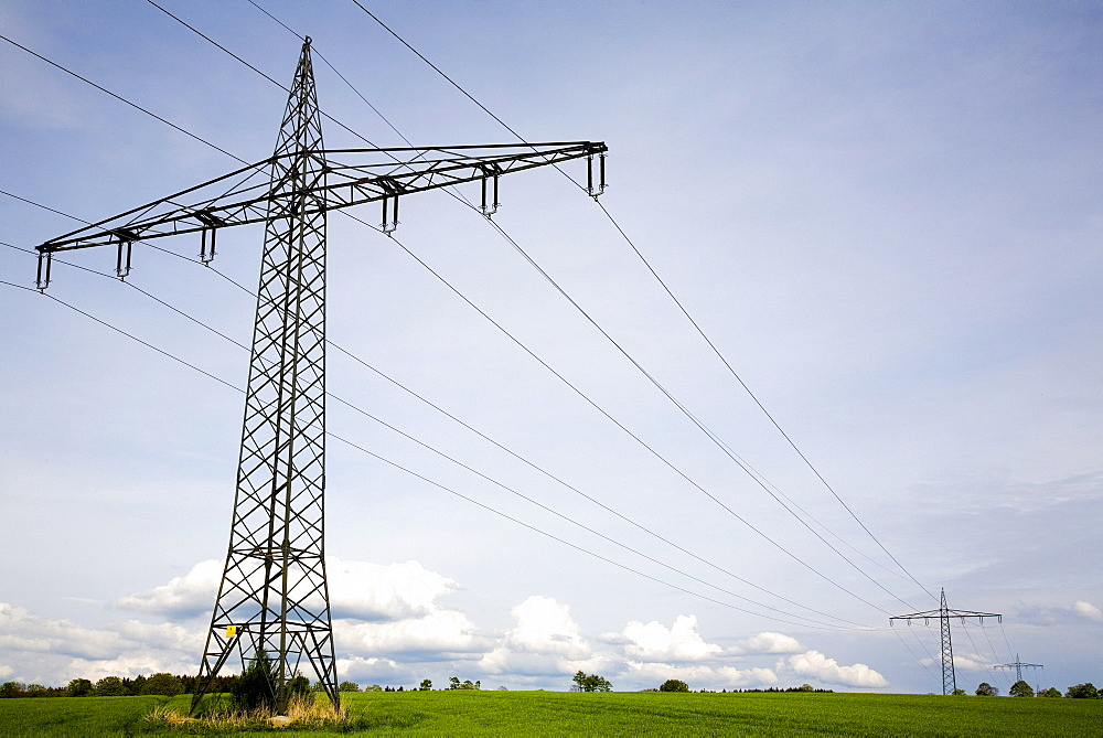 Electricity pylons, Paehl, Upper Bavaria, Bavaria, Germany, Europe