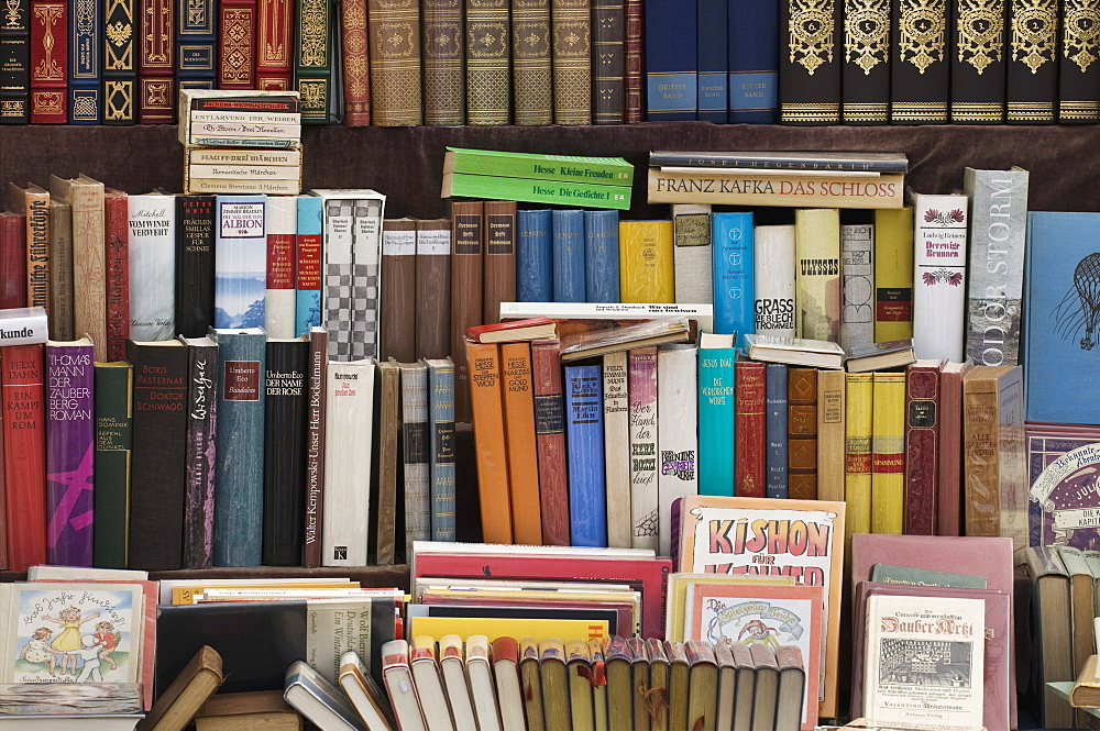 Books, display of bound books in a German antique book store