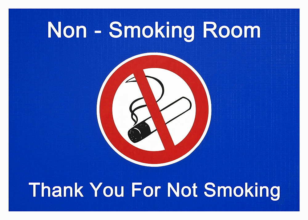 Sign, non-smoking room, thank you for not smoking