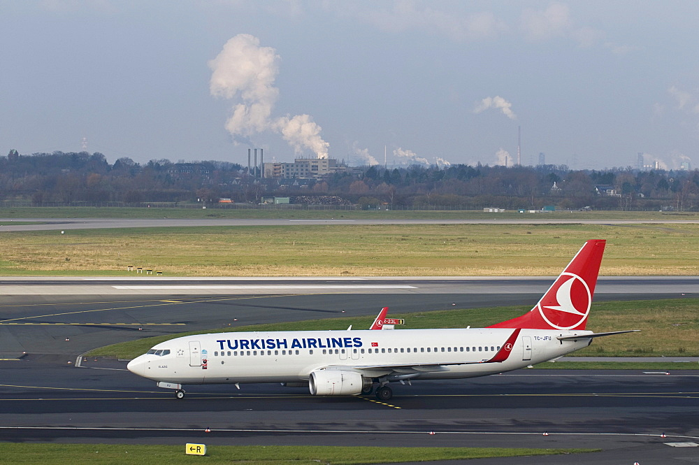 Turkish Airlines transport aircraft on the runway, Dusseldorf International Airport, North Rhine-Westphalia, Germany, Europe