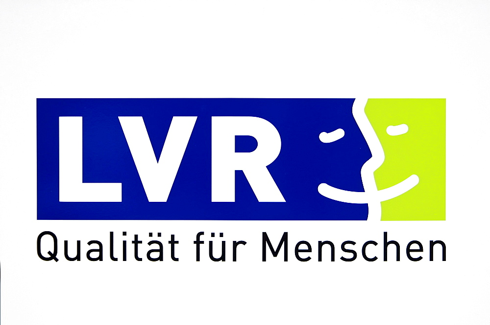 Logo LVR, Landschaftsverband Rheinland, regional association with the slogan, Qualitaet fuer Menschen, German for Quality for People