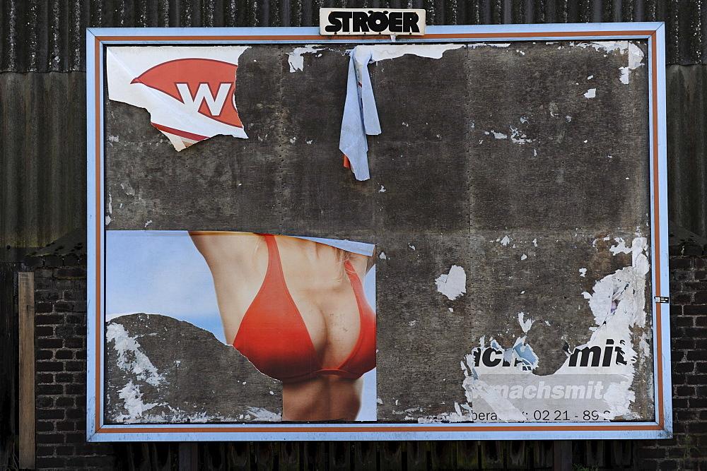 Weathered billboard, Duisburg, North Rhine-Westphalia, Germany, Europe