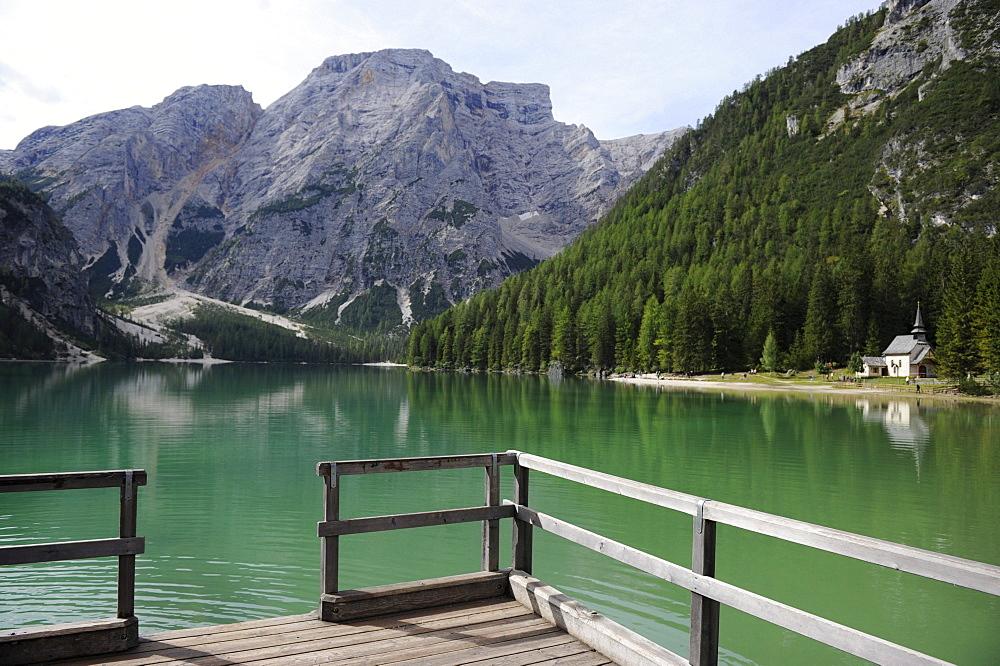 Pragser Wildsee or Braies Lake near Toblach, Dolomites, Alto Adige, Italy, Europe