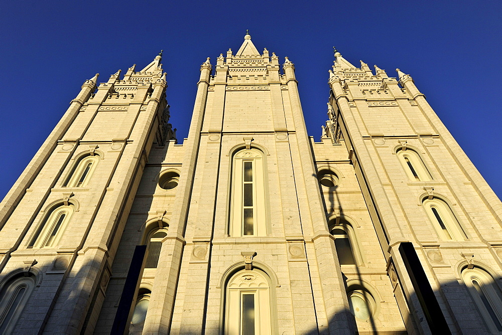 Rear side of the Temple of The Church of Jesus Christ of Latter-day Saints, Mormon Church, Temple Square, Salt Lake City, Utah, Southwest, USA, North America