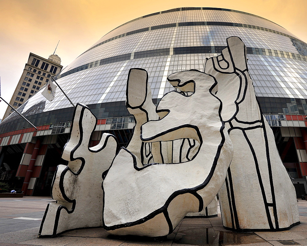 "Sculpture, ""Monument With Standing Beast"" by Jean Dubuffet, located in front of the James R. Thompson Center, JRTC, State Building, formerly known as the State of Illinois Center, Chicago, Illinois, United States of America, USA"