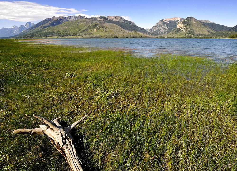 Jackson Lake off the Teton Range, Mount Moran, Grand Teton National Park, Wyoming, United States of America, USA