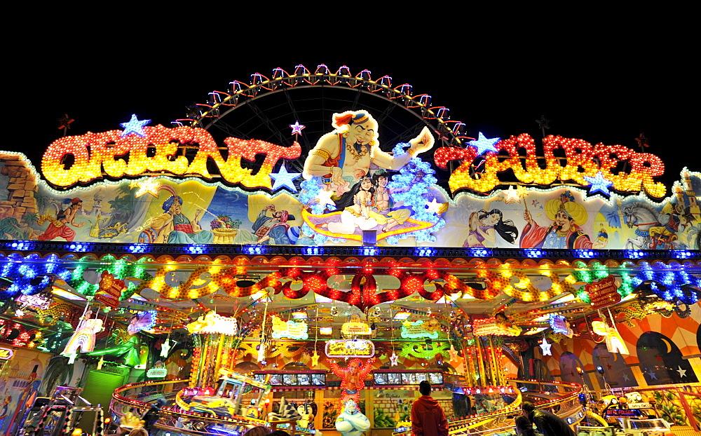 Orient Magic ride at night, Cannstatter Wasen or Volksfest, Stuttgart Beer Festival, Wasen, Bad Cannstadt, Stuttgart, Baden-Wuerttemberg, Germany, Europe