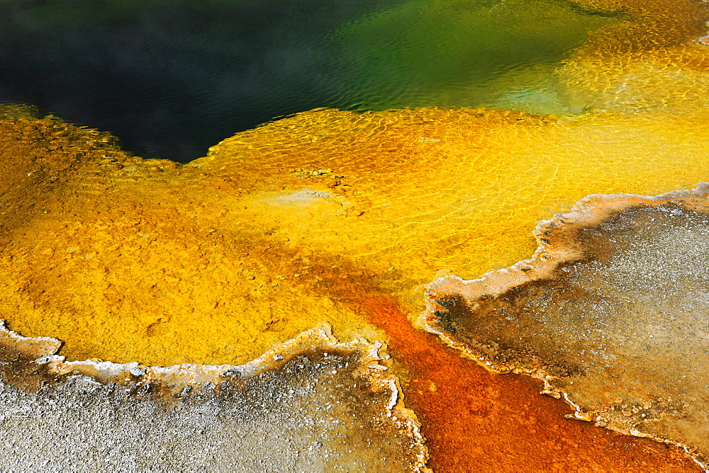 Emerald Pool Geyser, drainage area, colored thermophilic bacteria, microorganisms, geothermal sources, Black Sand Basin, Upper Geyser Basin, Yellowstone National Park, Wyoming, United States of America, USA