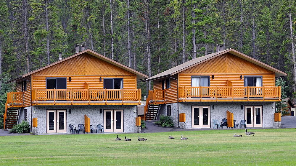 Log cabins Becker Chalets, Jasper National Park, Canadian Rockies, Rocky Mountains, Alberta, Canada
