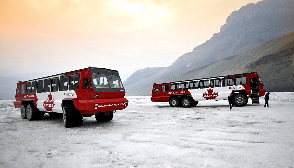 Brewster special bus, Ice Explorer Snowcoach, snowmobile for tourists to explore the glacier, at dusk, Athabasca Glacier, Columbia Icefield, Icefields Parkway, Jasper National Park, Canadian Rockies, Rocky Mountains, Alberta, Canada