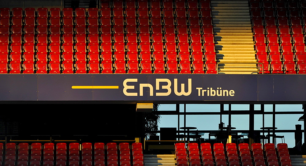 Empty rows of stadium seating, EnBW Tribuene, Mercedes-Benz Arena, Stuttgart, Baden-Wuerttemberg, Germany, Europe