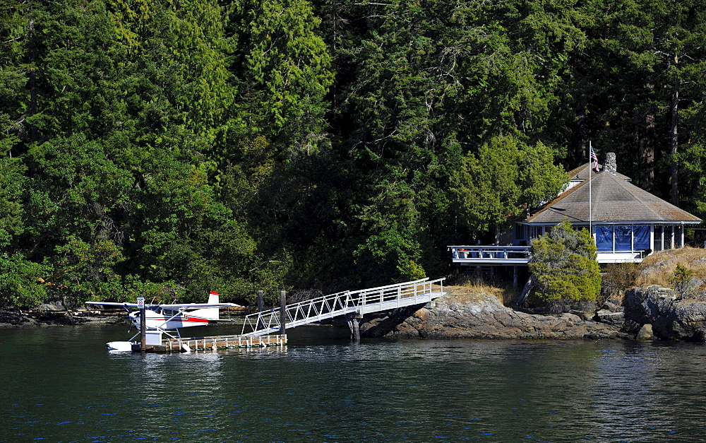 House and dock for seaplanes, Friday Harbor, San Juan Island, Washington, Strait of Juan de Fuca, United States of America, USA