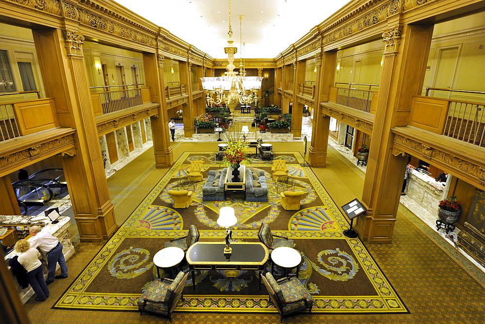 Lobby, luxury hotel Fairmont Olympic Hotel, Seattle, Washington, United States of America, USA