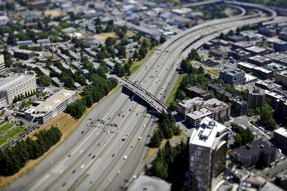 View towards the southeast, Interstate 5, Seattle, Washington, United States of America, USA
