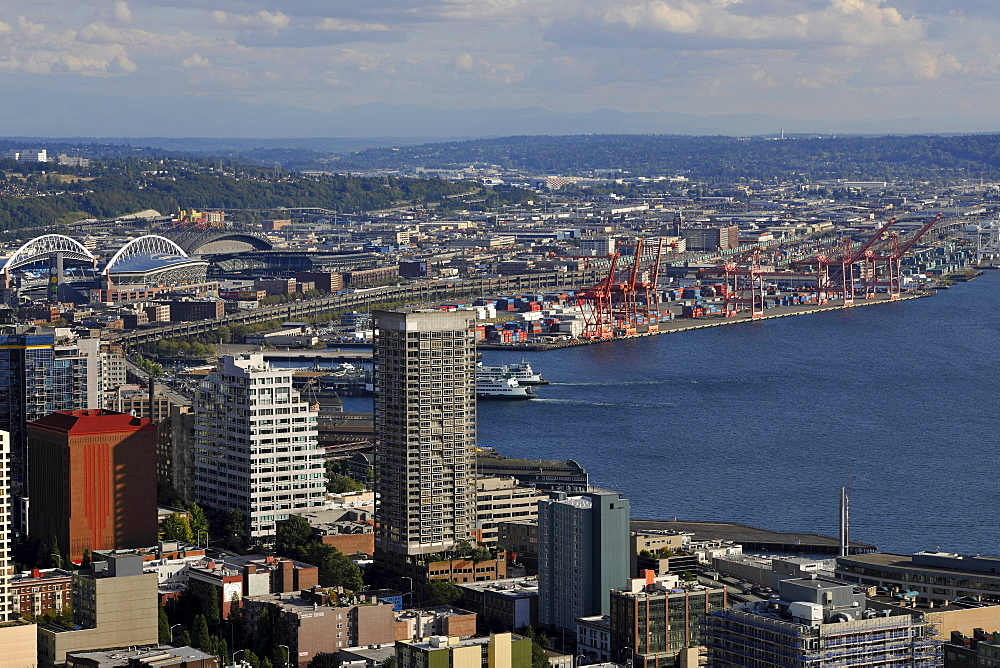 View towards the southwest, Seahawk Stadium, Qwest Field, Seattle Harbor, Elliott Bay, Seattle, Washington, United States of America, USA