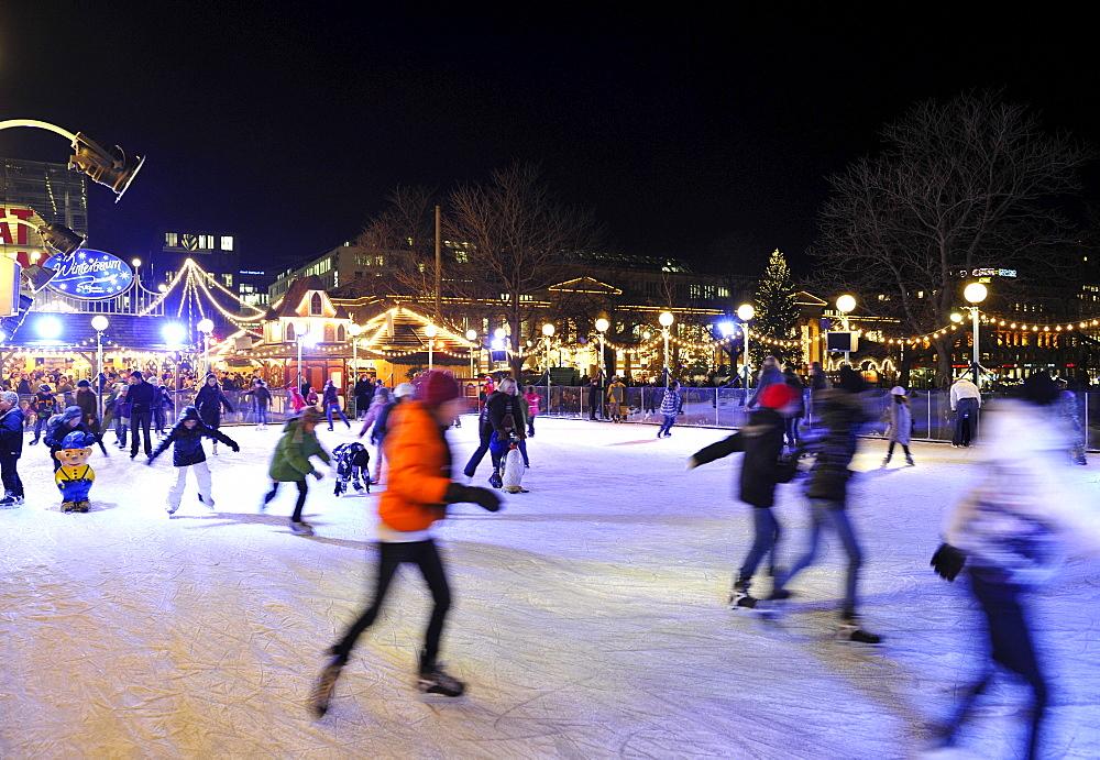Skating rink, Christmas market, Stuttgart, Baden-Wuerttemberg, Germany, Europe