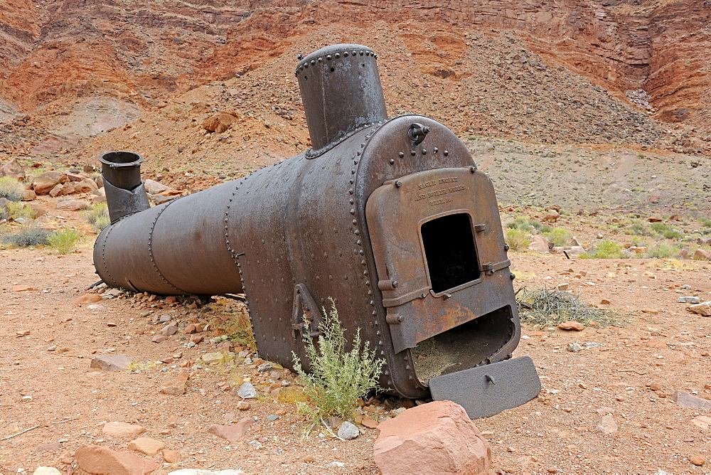 Old boiler for steamships from 1940, Lee's Ferry, Arizona, USA