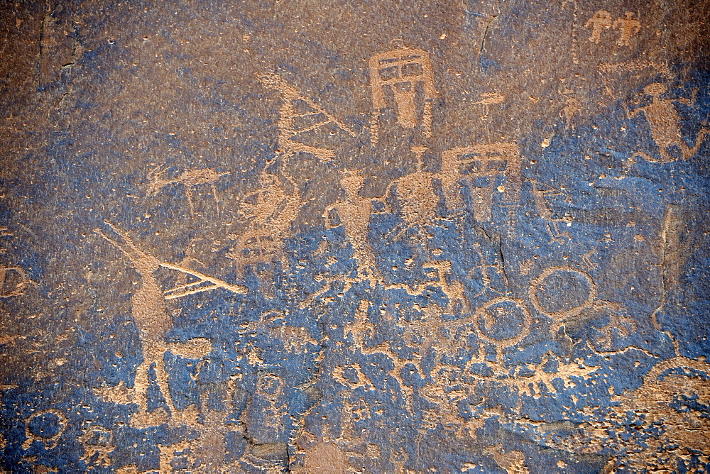About 3000 year old rock paintings by Native Americans, Sand Island, near Bluff, North Utah, USA