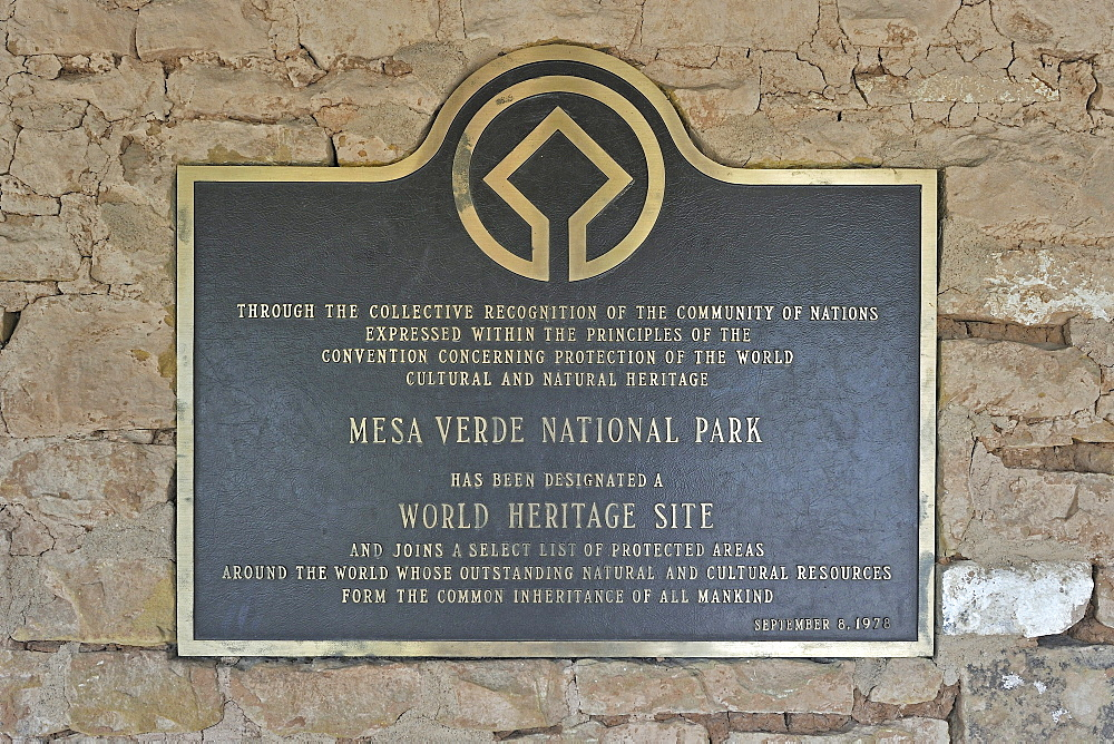 Information board at Mesa Verde National Park about the UNESCO World Heritage Site, Colorado, USA, North America